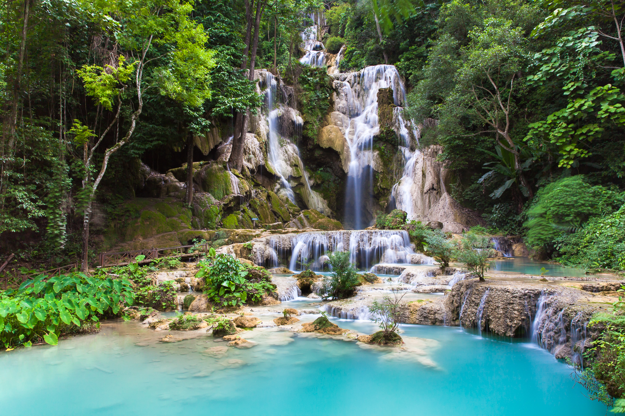 Путешествие по Лаосу: Главный водопад каскада Куанг Си
